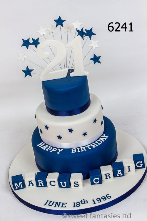 3 tier blue & white boys 21st birthday cake