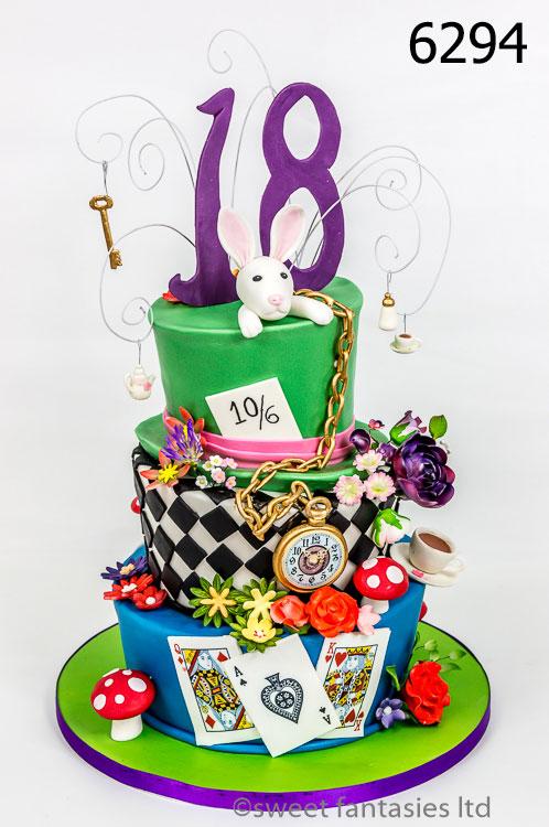 Girls 18th Alice in Wonderland themed cake