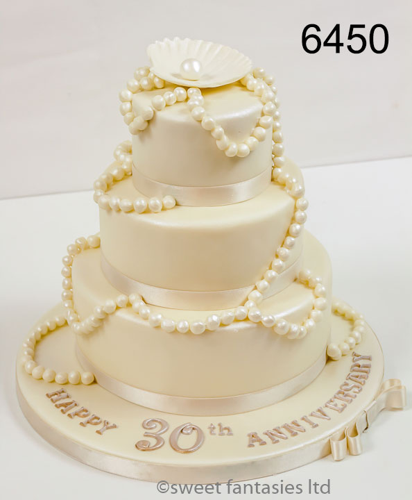 3 Tier Wedding Anniversary Cake with Pearls