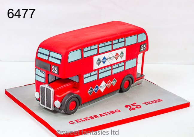 3D Red Double Decker Bus Birthday Cake