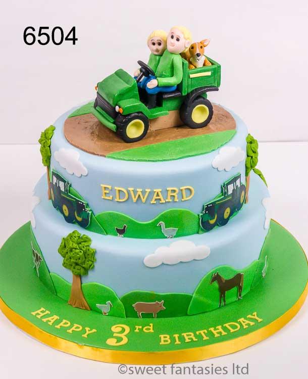 Boys Farming Themed Birthday Cake
