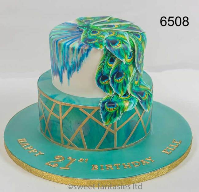 21st birthday cake with peacock feathers