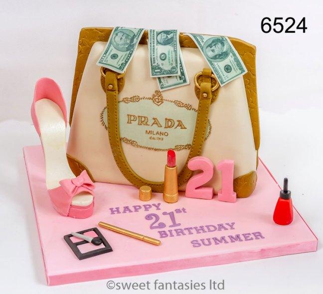 Designer handbag, shoe & make-up 21st cake