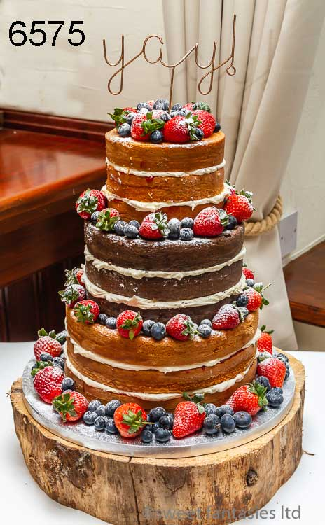 Plain & chocolate naked wedding cake with fresh fruit