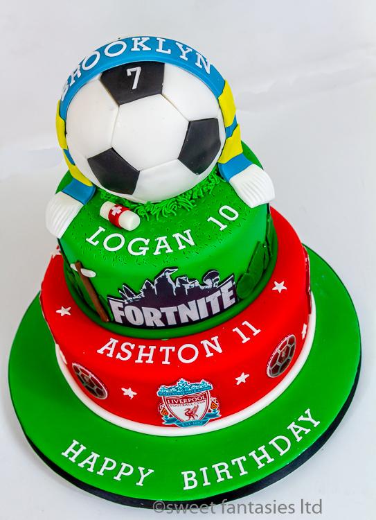 Football & Fortnite Themed joint Birthday Cake