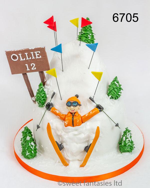 Boys Funny Skiing Birthday Cake