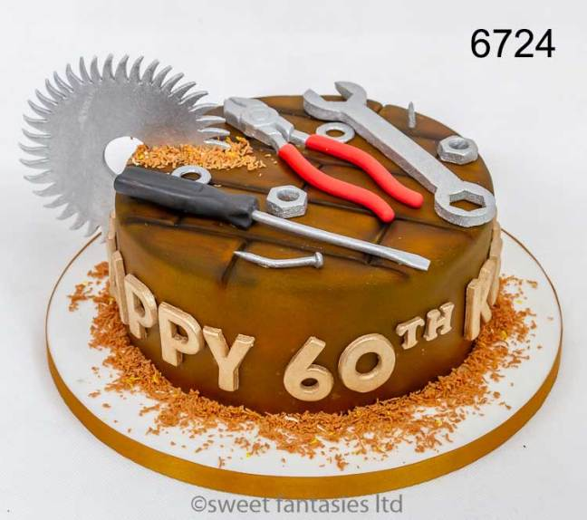 Mens birthday cakes, DIY with saw blade,pliers, spanners, screwdriver & nuts