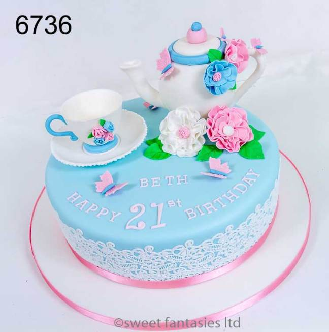 Teapot with Cup & saucer, girls 21st cake