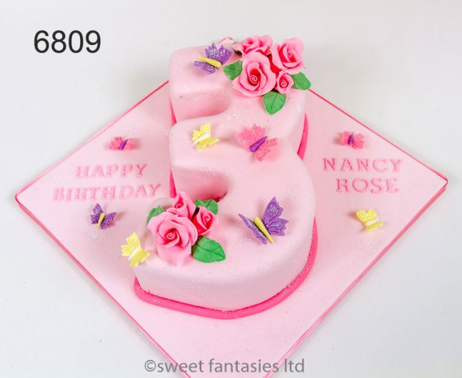 Pink Number (figure) 3 cake with roses & butterflies