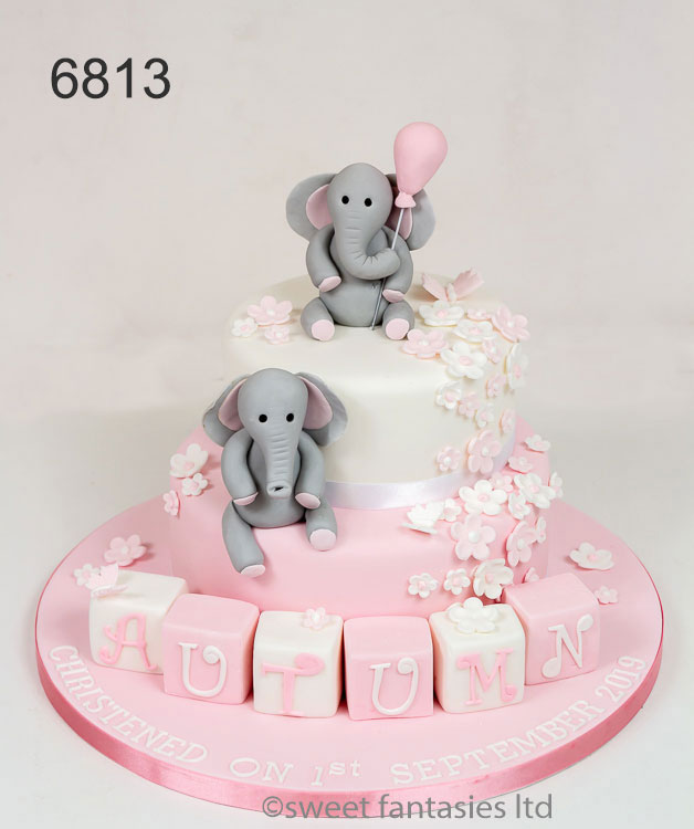 2 Tier with Elephant's - Girls Christening Cakes - sweet fantasies