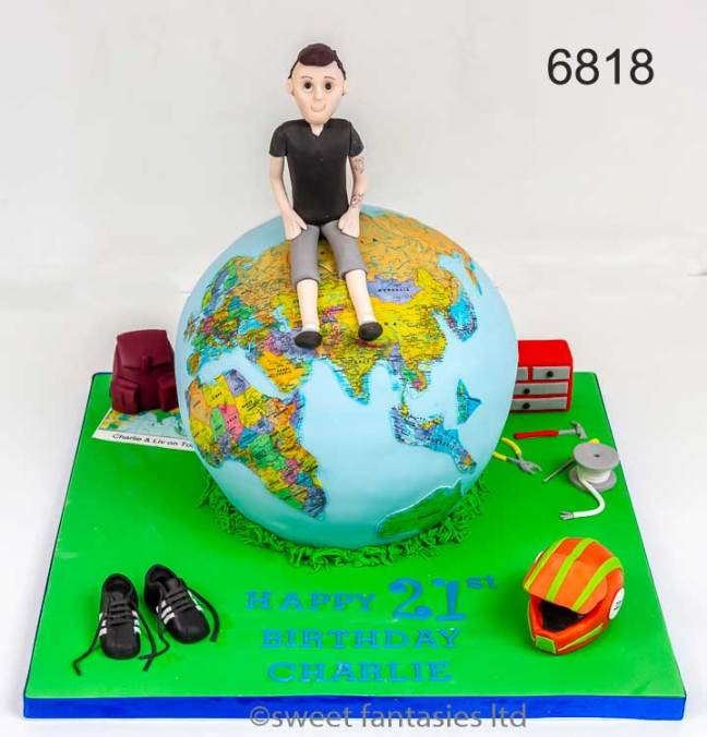 3D 21st birthday cake, boy sitting on globe (earth) plus favourite things