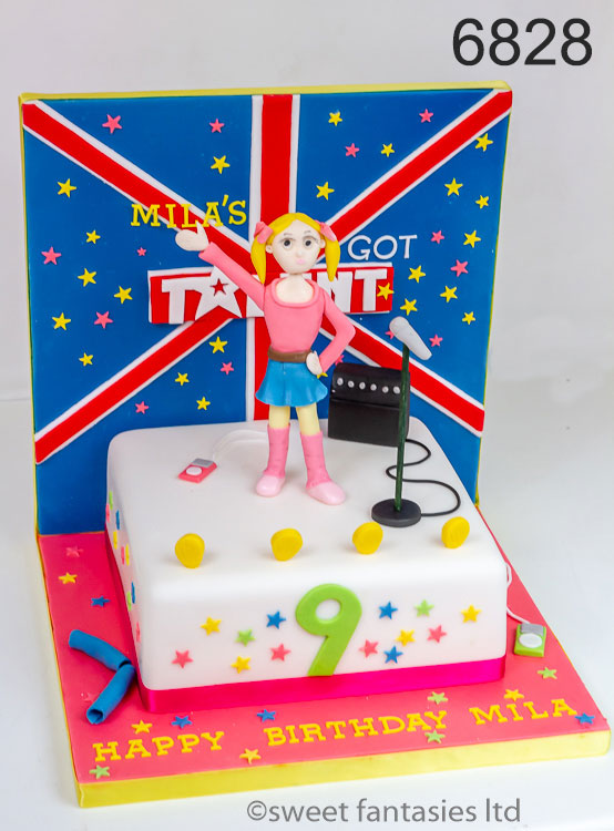 Britain's Got Talent themed girls birthday cake