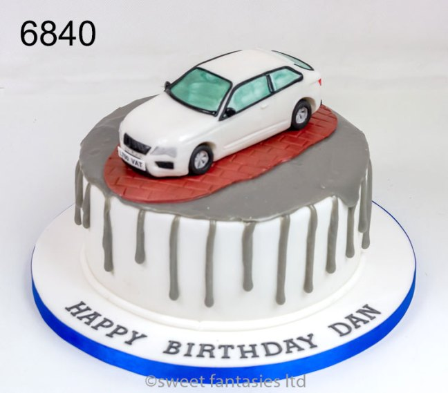 Birthday Cake with a Model of a Car
