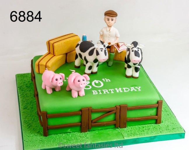 Farmer themed 80th birthday cake