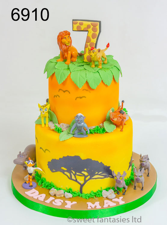 Loin King themed 2 tier birthday cake