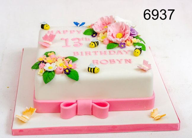 White square cake with Flowers, Bees & Butterflies