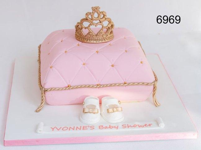 Pink cushion & Princess crown baby shower cake