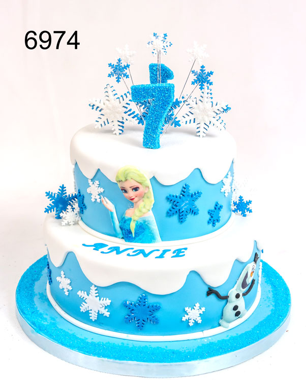 6974 - 2 Tier, 2 sided Frozen girls birthday cake, for 1 year old & 7 year old. cake by sweet fantasies