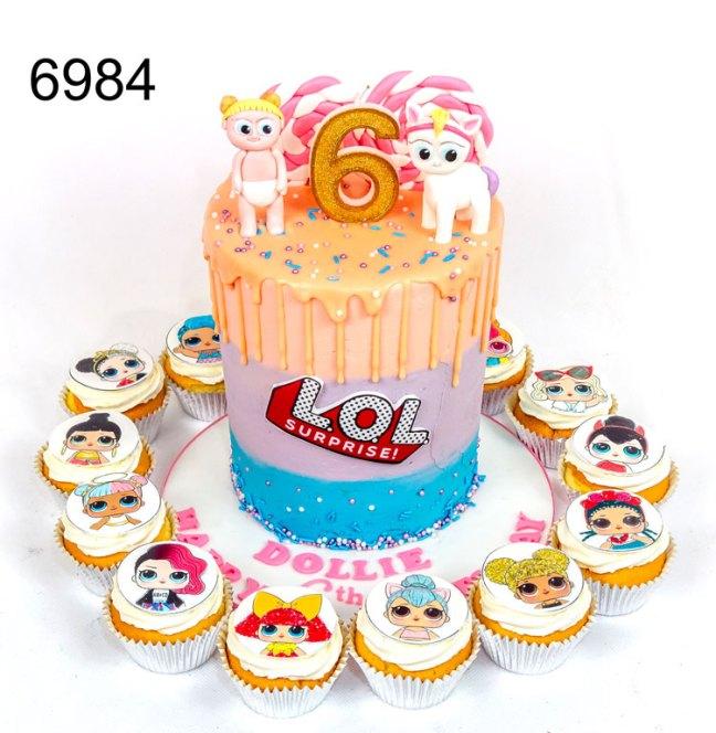 6984 - Tall LOL, girls birthday cake,with gold drip
