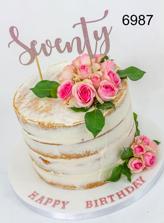 Semi-naked, 70th birthday cake with real roses