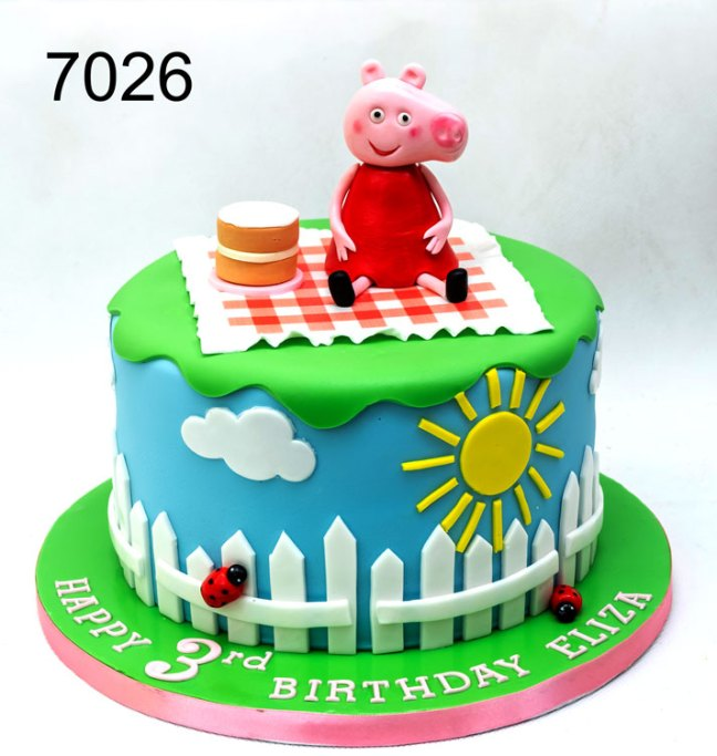7026 - Girls peppa pig 3rd birthday cake, Peppa pig having a birthday picnic
