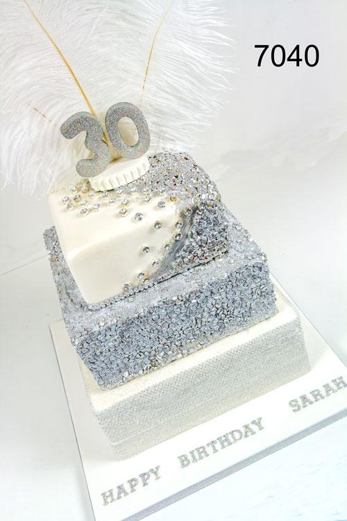 3 tier white & silver 30th ladies birthday cake