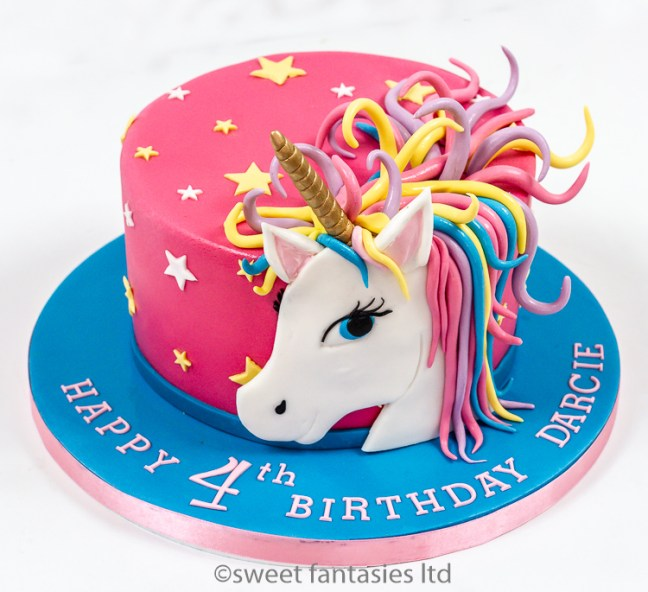 Pink & blue girls birthday cake with unicorn head