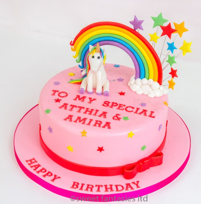 Unicorn with rainbow, pink girls birthday cake. cakes by sweet fantasies