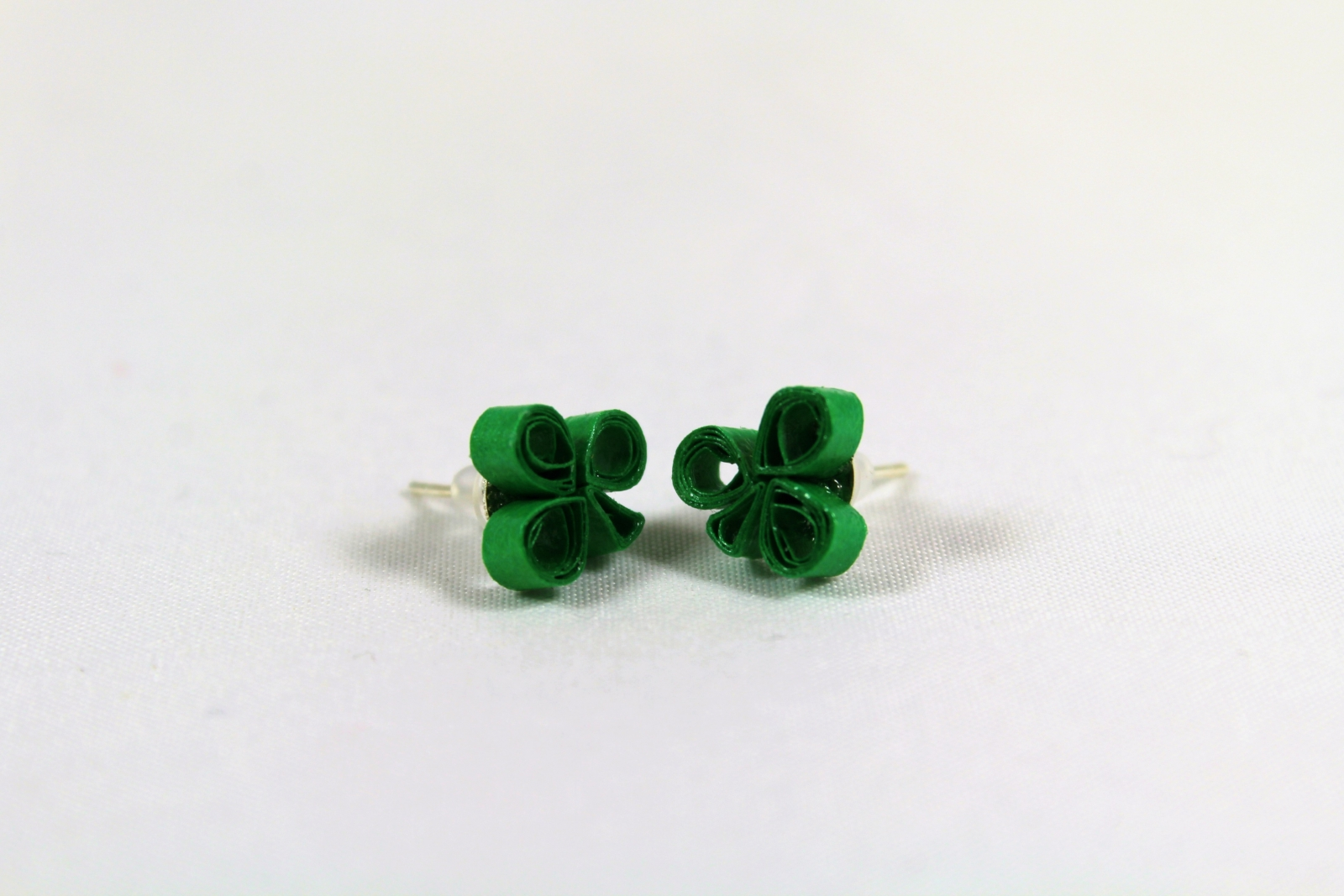 Handmade Shamrock Stud Earrings St Patricks Jewelry