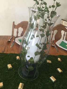 St. Patrick's day candle table decor