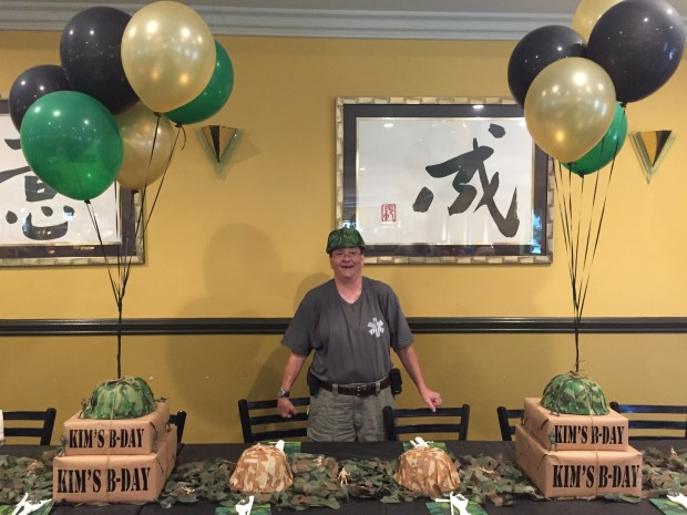 Army Camouflage 60th Birthday Party - birthday girl SweetLaneEvents.com
