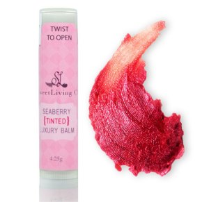 Pure, Organic Ingredients Tinted Cocoa & Seaberry Luxury Lip Balm by Sweet Living Co. Handmade in Canada. Paleo Beauty. Anti-Acing Skincare.