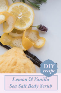 Lemon & Vanilla Sea Salt. Budget DIY fresh body scrub you can make from ingredients you have in the kitchen!