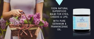 Paleo Frankincense Beauty Balm - Intensive Anti-Wrinkle Super Concentrate. By Sweet Living Co. Made in Canada. Superfood balm. Moisturiser for eyes, cheeks lips. Organic, natural moisturiser.