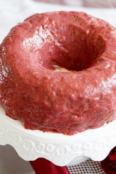 Healthy Strawberry Protein Bundt Cake with Strawberry Protein Glaze