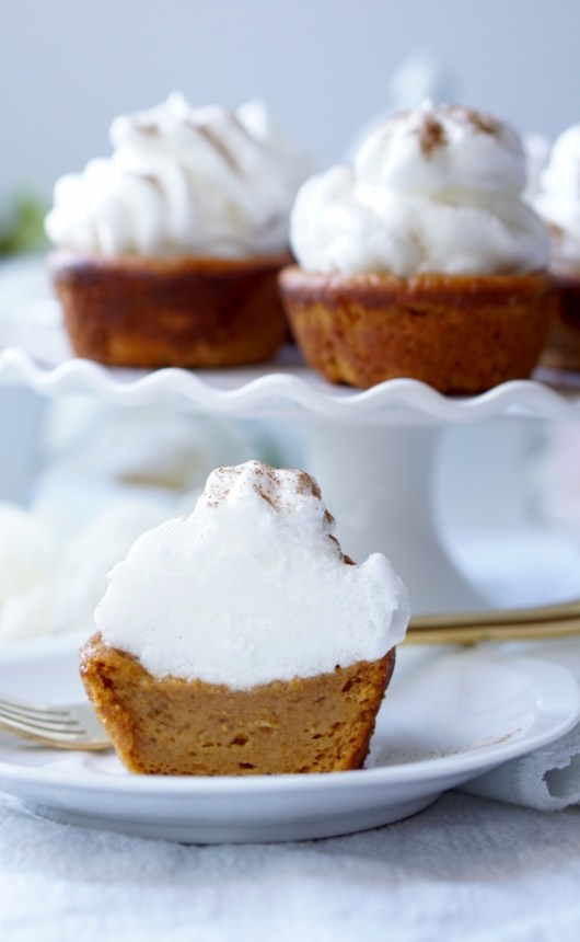 A Super-Easy, Super-Fast recipe for the Super-Healthy, Super-Yummy Impossible Sweet Potato Pie Cupcakes! Topped with the Marshmallow Meringue Frosting, they are your perfect beautiful guiltless Thanksgiving Dessert! The Super-Speedy, Vegan, Paleo and Gluten-Free Versions included!