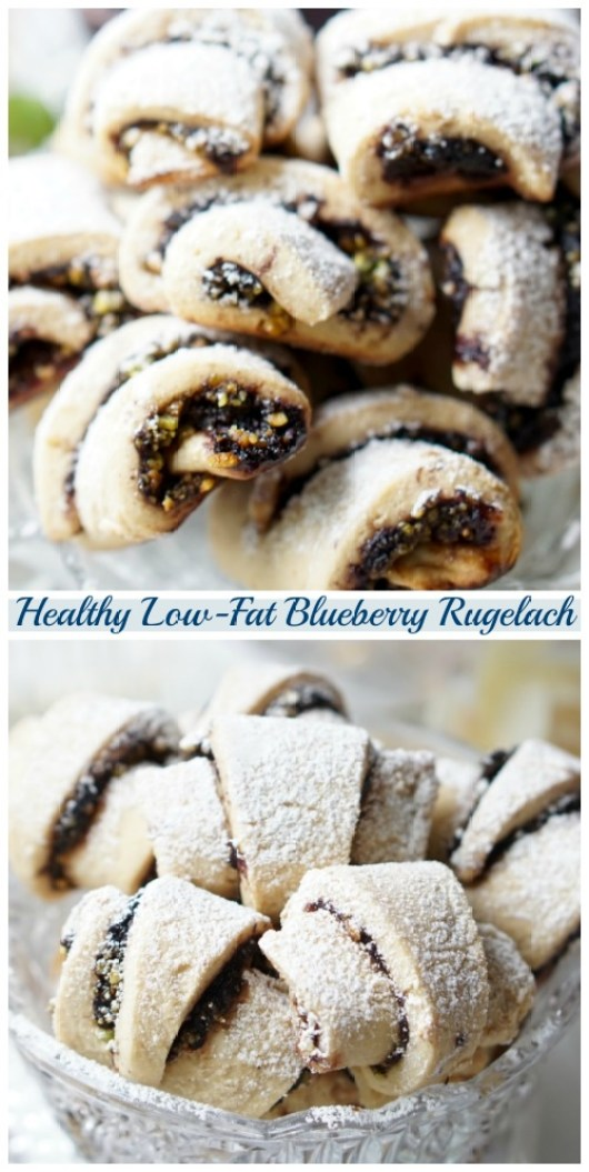 A recipe for the low-fat, low-calorie, naturally high in protein, but still buttery, crumbly and rich Healthy Rugelach Cookies! They're filled with the home-made blueberry jam and chopped pistachios. So delicious!