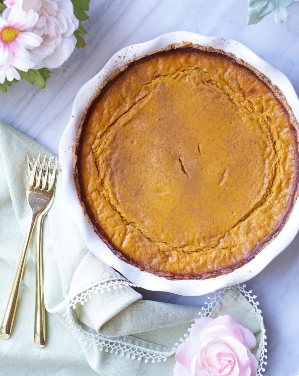 The Healthy Pumpkin Pie is easy to make (seriously - it's easier than making a cake - I promise!) all-natural, lower-calorie, and super-delicious!