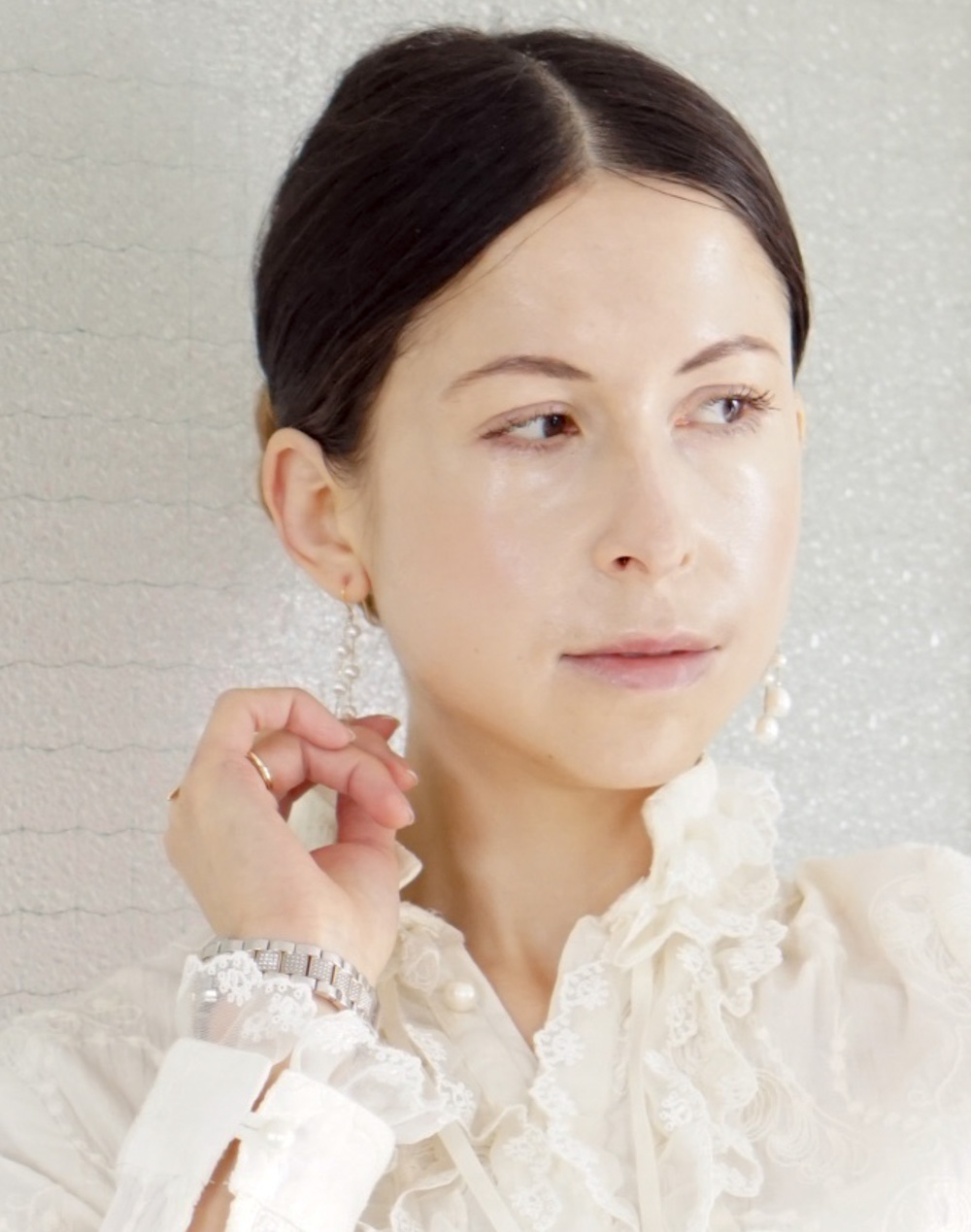 Victorian blouse and pearl earrings