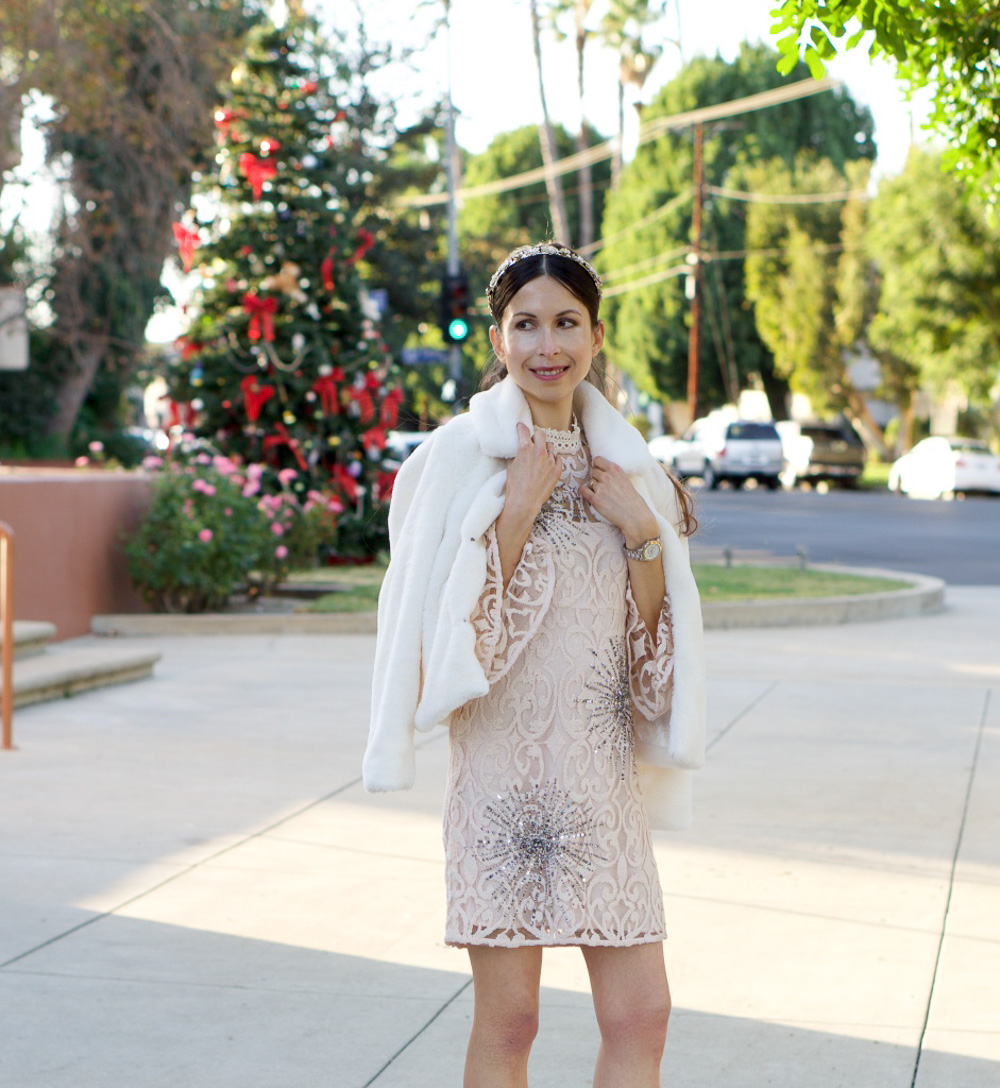 White Dress and White Faux Fur Coat