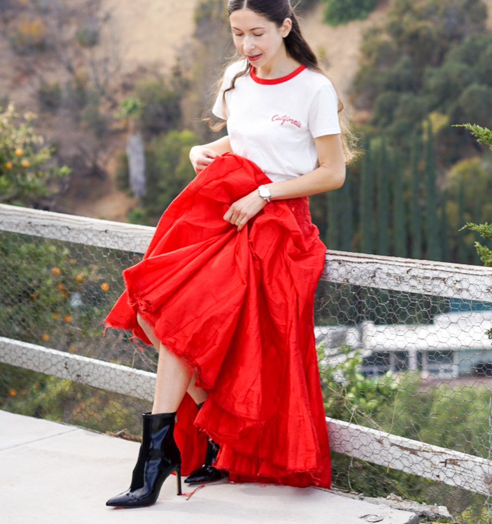 White Tee and Red Maxi Skirt