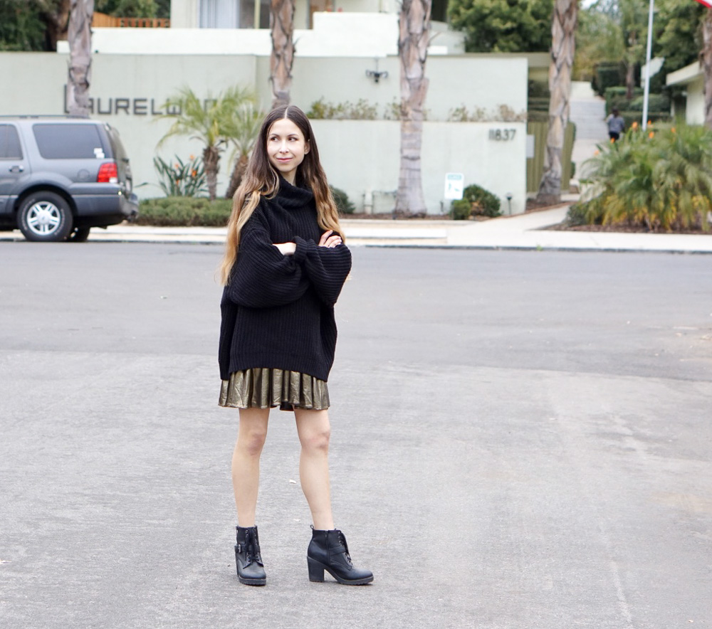 Black Sweater, Gold Dress and Boots