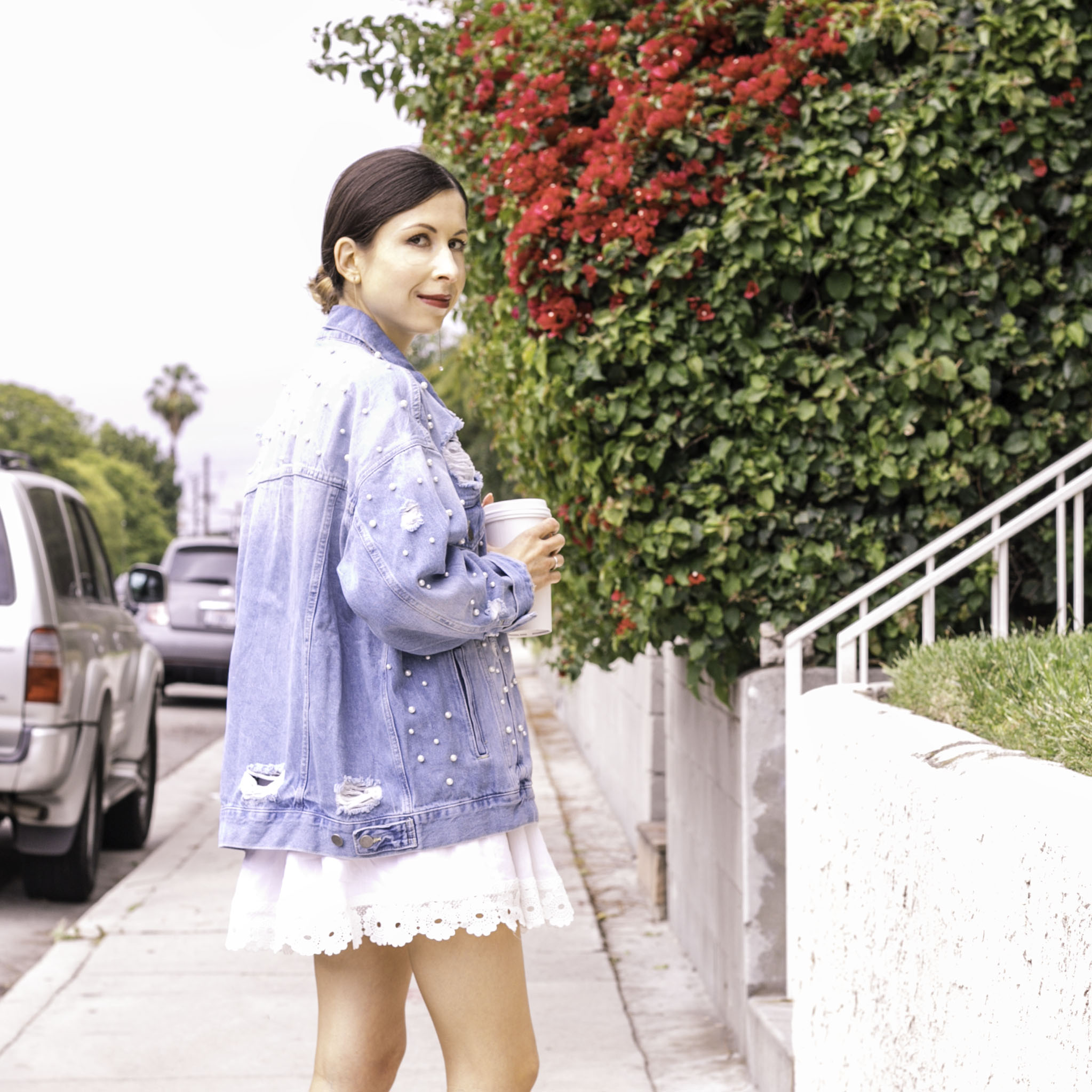 White Lace Mini Dress and Denim Jacket