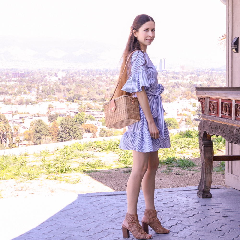 Shirtdress and Straw Bag