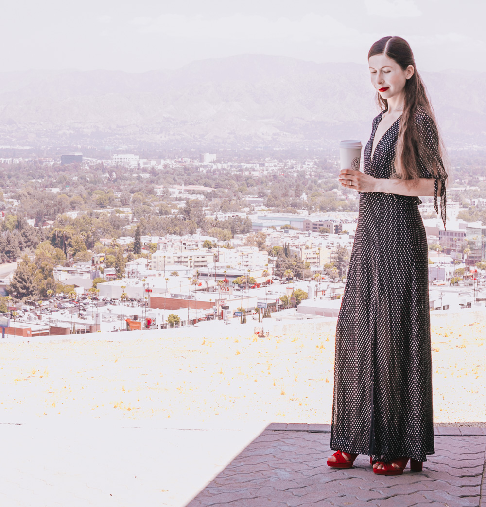 Black Maxi Dress and Red Sandals