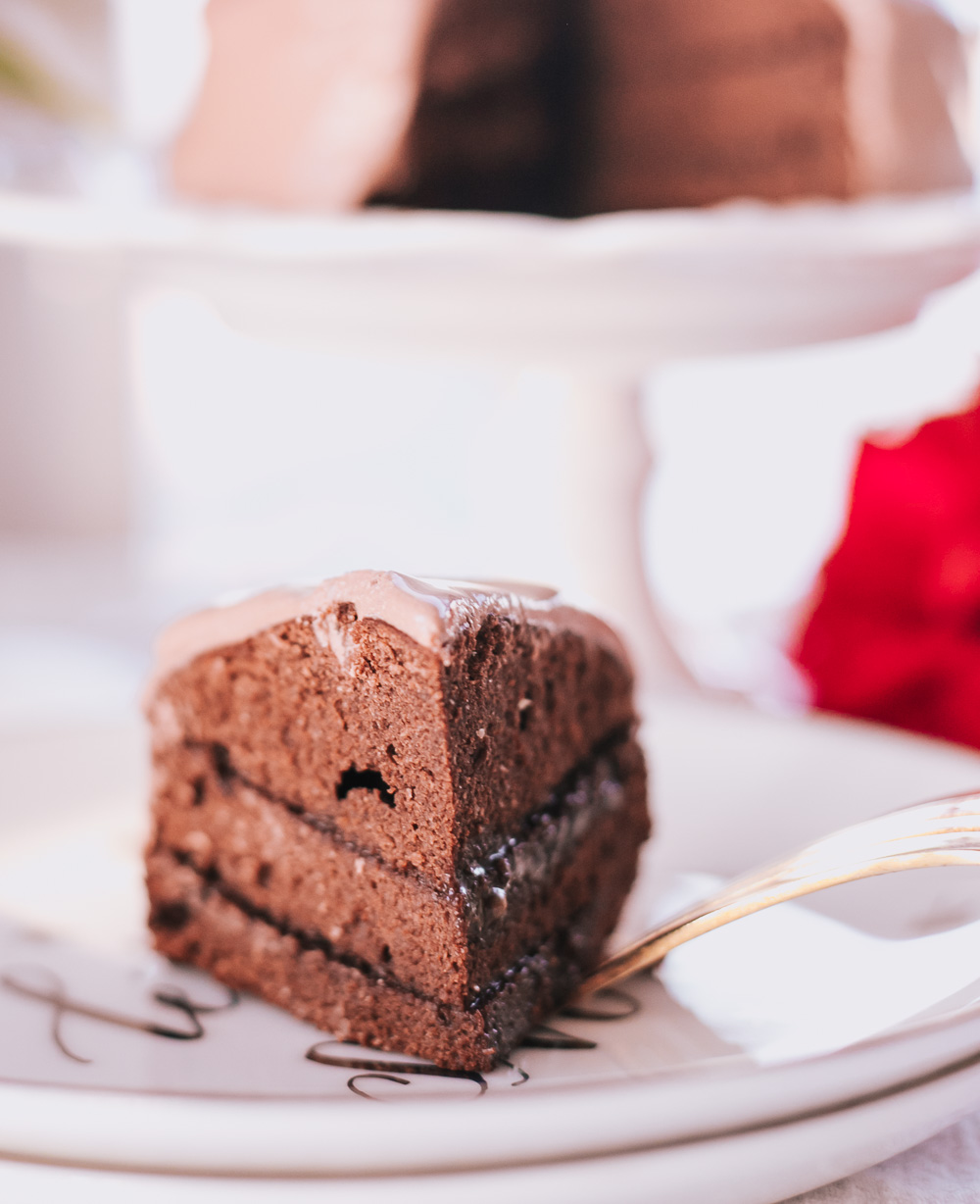 Healthy Low-Calorie Chocolate Fudge Cake With Chocolate Frosting is all-natural, easy to make, satisfying and is only 128 calories per slice!