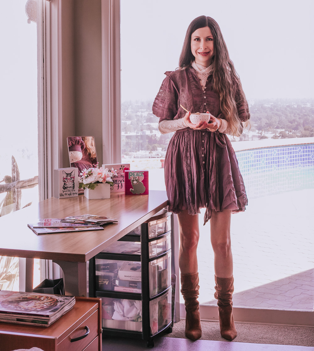 Purple Dress over a Lace Top & Suede Boots Outfit