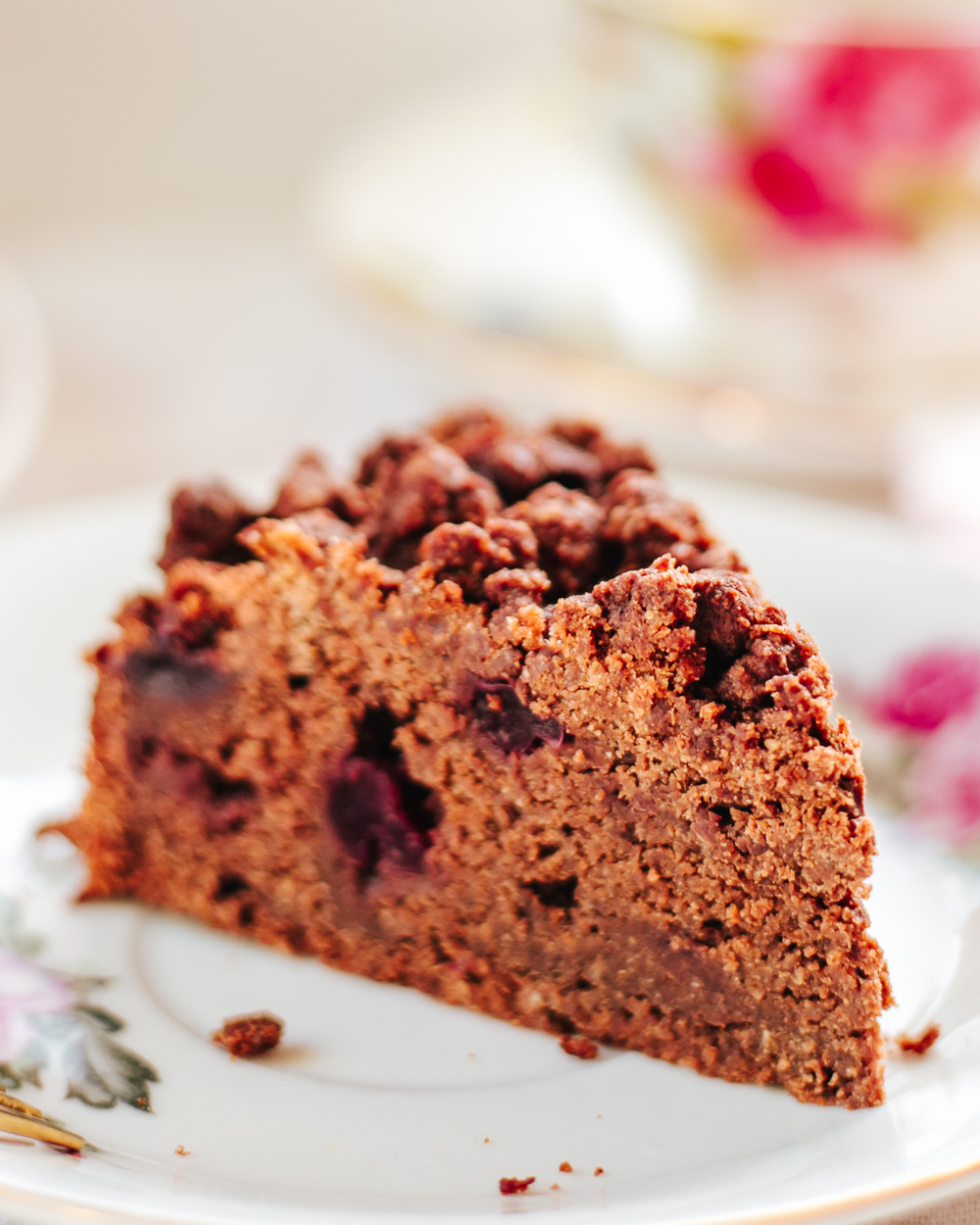 The Healthy Chocolate Cherry Coffee Cake: the recipe is easy to make, wholesome and lower calorie than a traditional coffee cake, but just as yummy and flavorful!