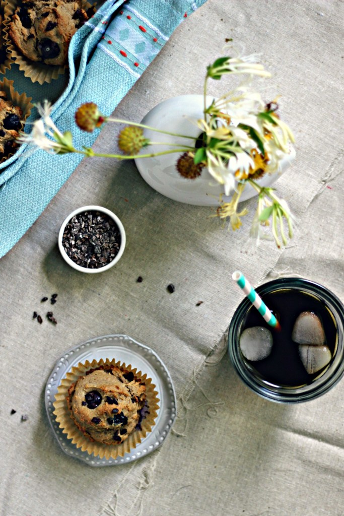 cashew butter blueberry muffins with cacao nibs | via sweet miscellany