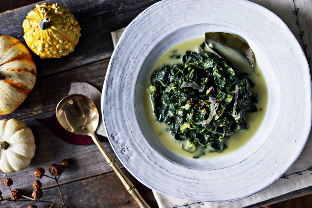 coconut milk braised collard greens | via sweet miscellany